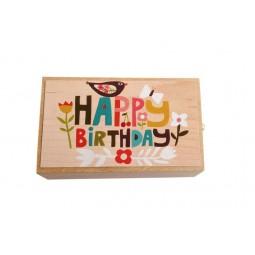 Boîte à musique en bois Happy Birthday