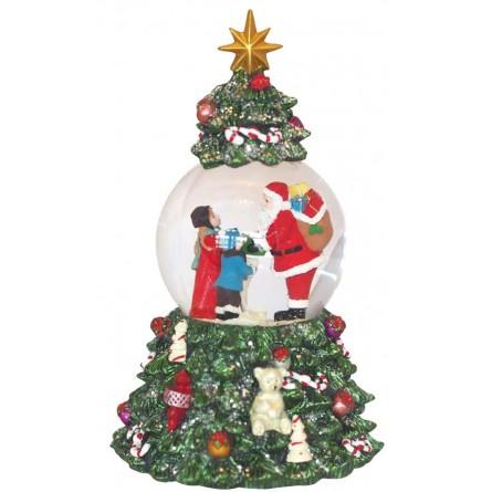 Dans Un Sapin De Noël Avec Père Noël Distribuant Des Cadeaux