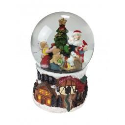 Boule de neige Père Noël distribuant des cadeaux