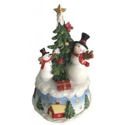 Bonhommes de neige avec sapin de Noël