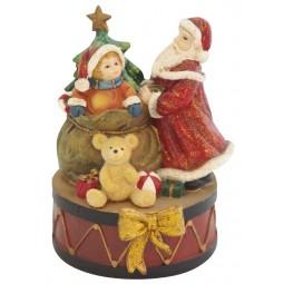 Boîte à musique Père Noël avec fillette