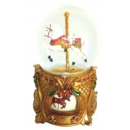 Cheval de manège dans une boule de neige