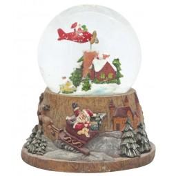 Boule Père Noël en avion avec neige et paillettes