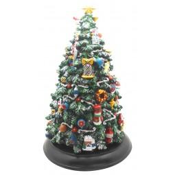 Boîte à musique sapin de Noël avec lumières LED
