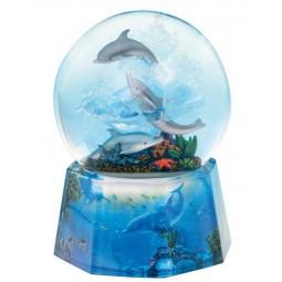 Boule avec paillettes scintillantes dauphins
