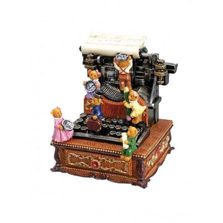Music box typewriter bears