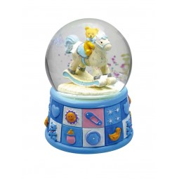 "Glitter globe ""bears"" light blue"