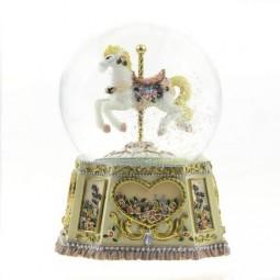 "Glitter globe ""Carousel horse"""