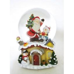 Boule de neige Père Noël et bonhomme de neigef