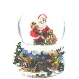 Boule de neige Père Noël avec sac à cadeaux