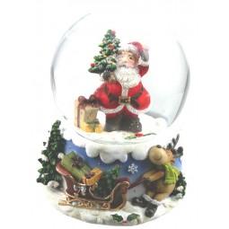 Boule de neige Père Noël avec petit sapin