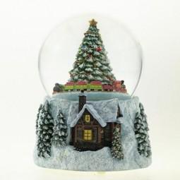 Snow globe with tree & train