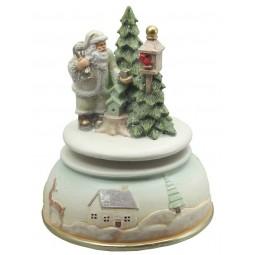 Boîte à musique blanche Père Noël et nichoirs