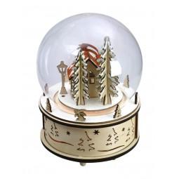Boule avec stand de marché de Noël en bois