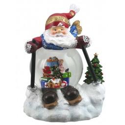 Père Noël skieur avec scène de train