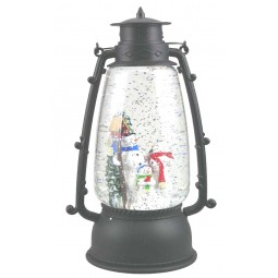 Round Lantern with snow man scene