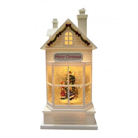 House with Christmas scene inside