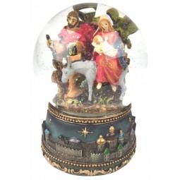 Boule enfant Jésus sur un âne avec neige et paillettes