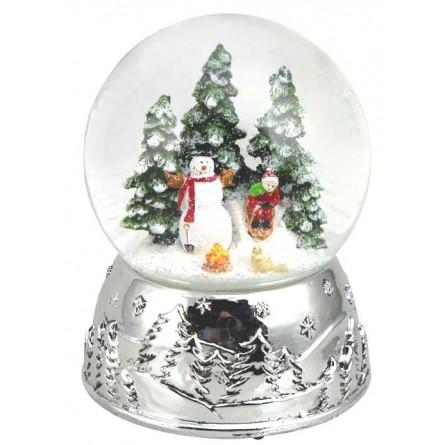 Snowglobe snowman silver 100 mm