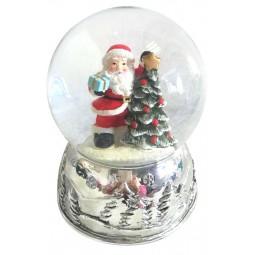 Boule de neige Père Noël avec sapin, socle argenté