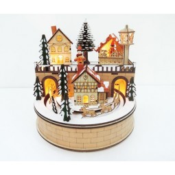 Wooden village with sledge