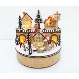 Boite ronde en bois avec ville et marché de Noël