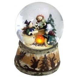 Boule de neige famille de bonshommes de neige