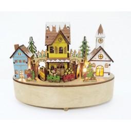 Boite ovale en bois avec ville