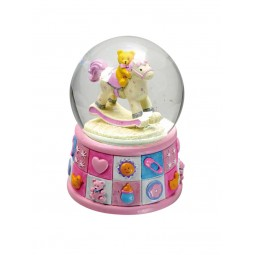 Boule musicale rose ourson 100 mm