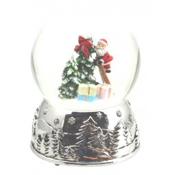 Boule de neige Père Noël sur échelle, socle argenté