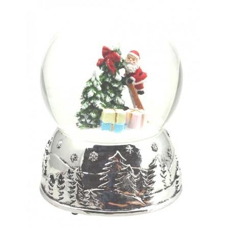 Snow globe Santa on ladder