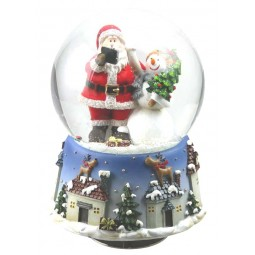 Boule de neige Père Noël avec bonhomme de neige