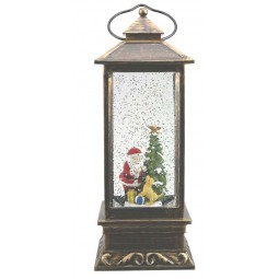 Lanterne carrée et argentée avec Père Noël