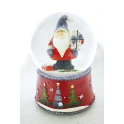 Boule de neige Père Noël avec cadeau
