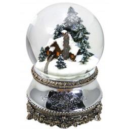 Boule de neige argenté maison forestière