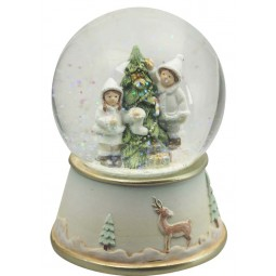 Snow globe kids on the tree white
