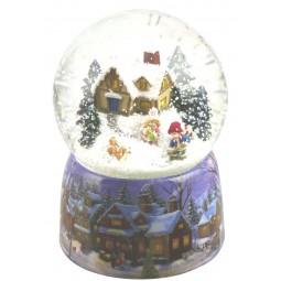 Boule de neige enfants pelletant la neige