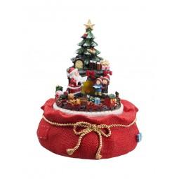 Scène de Noël dans sac de jute rouge