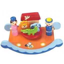 Boîte à musique en bois bascule orange et bleue motif Arche de Noé