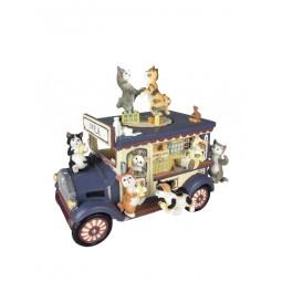 voiture laitière nostalgique avec chats