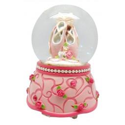 Boule avec paillettes scintillantes chaussons de danse roses