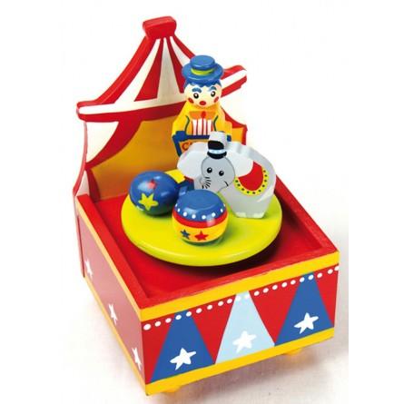 Boîte à musique en bois cirque