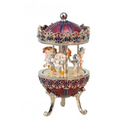 Silver carousel with horses