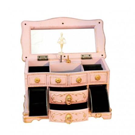 Jewelry dresser in pink with flower design