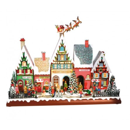 """Musicbox """"Houses with flying santa"""
