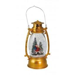 """Musicbox """"Golden lantern with glitter globe"""""""