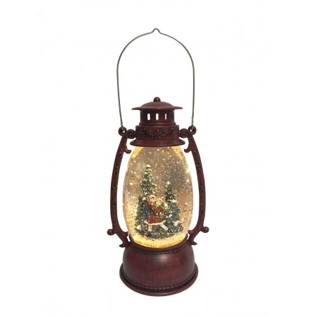 Red lantern in wooden optic