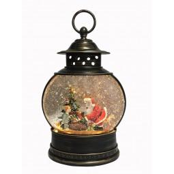 "Musicbox ""black lantern with glitter globe"""