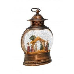 Lanterne de couleur bronze avec paillettes scintillantes et scène de crèche