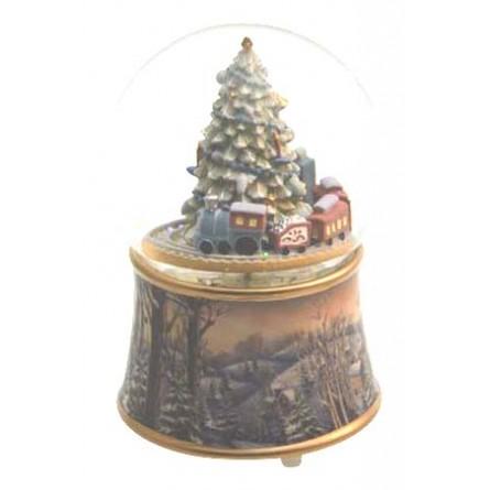 "Snowglobe ""Christmas tree with train"""